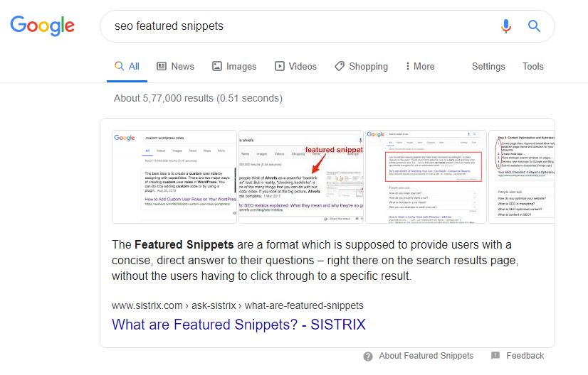 Featured snippet Digital Marketing Trend 2020